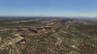 Drone shot of unique canyon landscape in Bears Ears, Utah