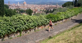 girl running outside of Florence