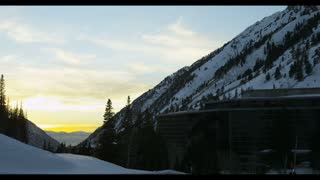 sun setting at ski resort