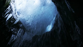 water dripping from glacier cave