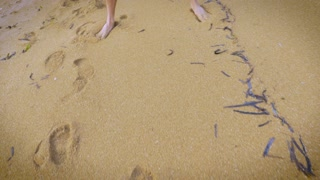 A person draws a dollar money sign in the sand with a stick on the beach.