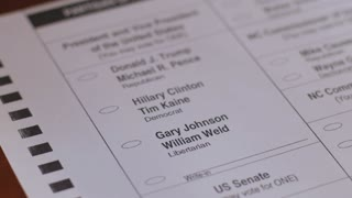Close up a voter voting for Libertarian Gary Johnson and William Weld with a black pen during the 2016 General Presidential Election