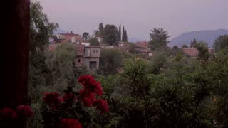 Mexico, Latin America, South American neighborhood with colorful old and new adobe houses dolly establishing shot with flowers, garden, cypress trees, mountains, and green foliage.