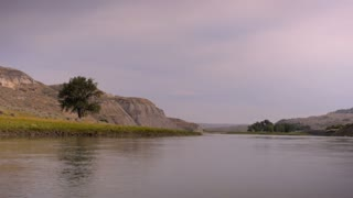 Missouri river shot from a moving canoe along the Lewis and Clark national historic trail in Montana