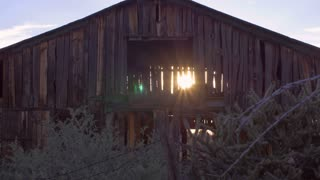 Old wooden abandoned brown barn with sun gleaming and streaming through open slats and beams in the dilapidated wood with sagebrush and plants in foreground with slow dolly move.