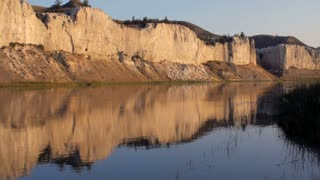 Reflection of the white cliffs of the Missouri River in Montana along the Lewis and Clark trail