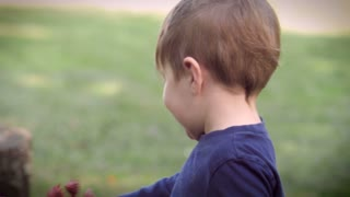 Slow mo of a child dropping his toy and looking up to his dad for approval and then he walks away. Shot outside on a summer day on green grass.