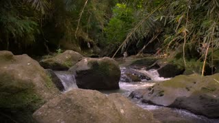Slow pan in slow motion of rushing river streaming down boulders in the jungle.