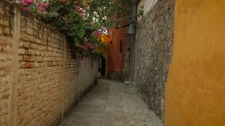 Steadicam down a narrow colorful alley with brick walls and flowers in slow mo
