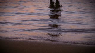 Tilt up shot of a man moving his arms into a worship pose while standing in the water on a beach reaching out towards the sun seeking answers and looking for inspiration at sunrise or sunset.