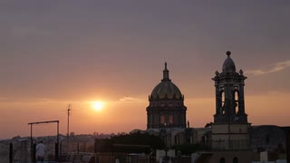 Time-lapse of sunset against a historic colonial church in San Miguel de Allende, Mexico