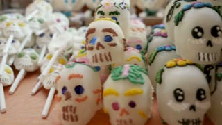 An assortment of different sizes of sugar skulls stabilized shot for Day of the Dead in Patzcuaro Mexico