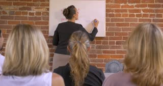 Audience applauding at a business presentation when a woman is writing on white board - dolly shot