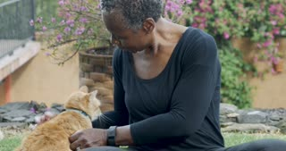 Beautiful elderly black woman in her 60s petting and scratching her domestic orange pet cat with love outside