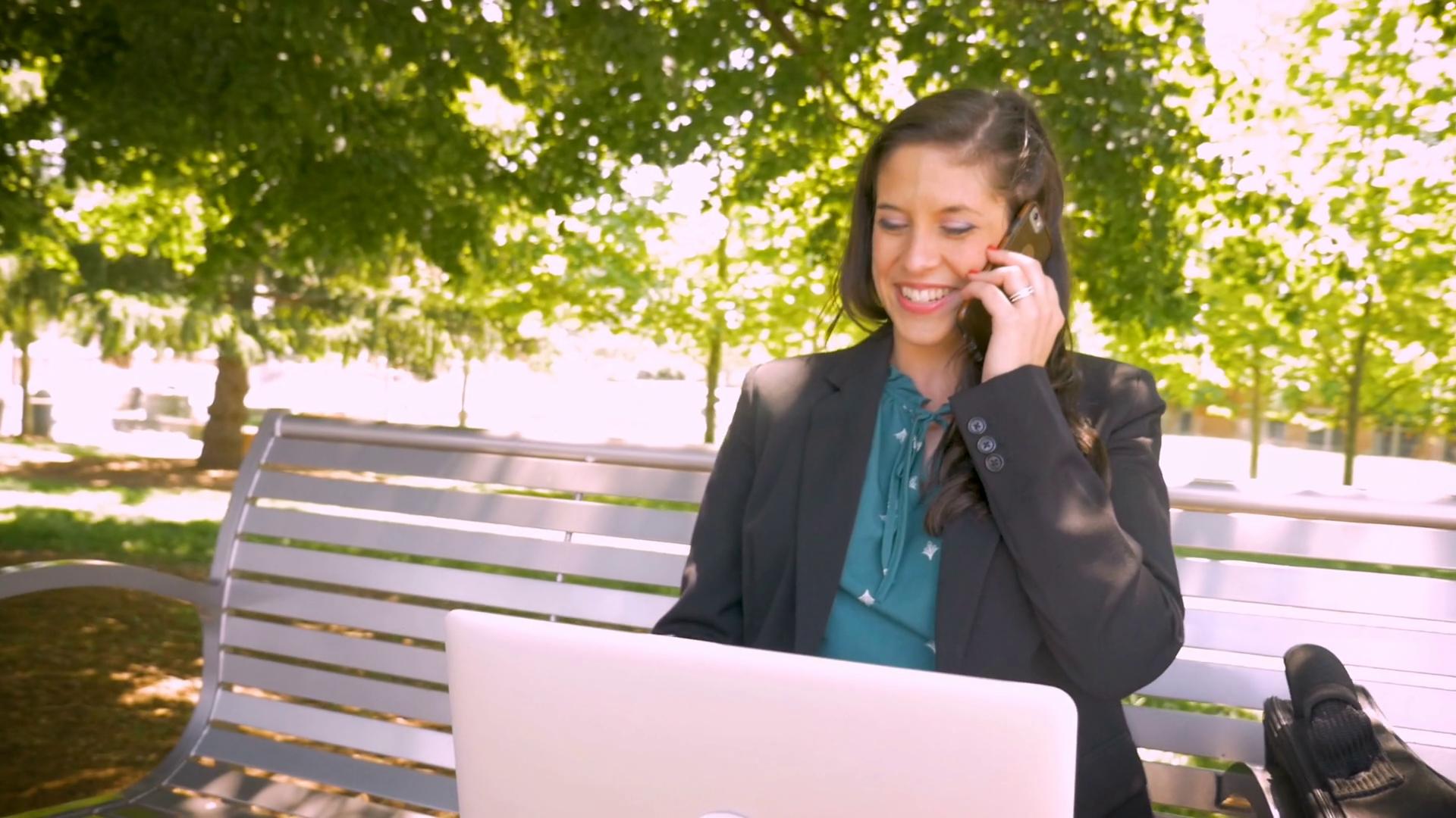 Beautiful powerful female business executive happily