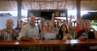 Large group of people cheering and celebrating while watching a sports game in a bar pub