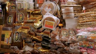 MORELIA, MEXICO - CIRCA AUGUST 2018 - Packages of famous Michoacan sweets and candies at the sweet market in Morelia
