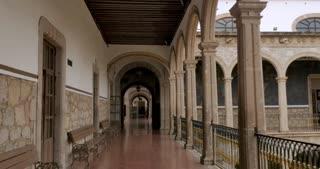 MORELIA, MEXICO - CIRCA AUGUST 2018 - POV walking on the 2nd floor of the Michoacan University of Saint Nicholas of Hidalgo - gimbal stabilized shot