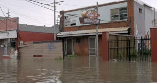 NEW ORLEANS, USA - JULY 22, 2017 - Flooding outside a restaurant in Treme due to torrential thunderstorms and poor drainage