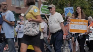 NEW YORK CITY, UNITED STATES - SEPTEMBER 21, 2014 - A peaceful protest in NYC advocating for clean energy to combat climate change at the People's Climate March