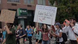 NEW YORK CITY, UNITED STATES - SEPTEMBER 21, 2014 - People marching for labeling genetically modified food GMO at a protest at the People's Climate March