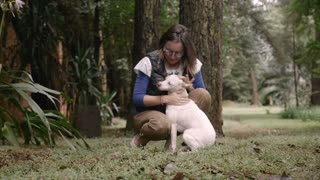 Portrait of an attractive happy woman kneeling on the ground petting her dog in slow motion