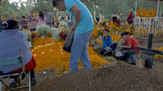 TZURUMUTARO, MEXICO - NOVEMBER 1, 2016 - Mexican man sprinkling marigold flower petals on the grave of his ancestors while his children and elders prepare for the long celebration of Day of the Dead