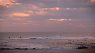 Wide shot of a large group of surfers surfing in the ocean at sunset catching some waves at the end of the day on their vacation under a beautiful and colorful sky.