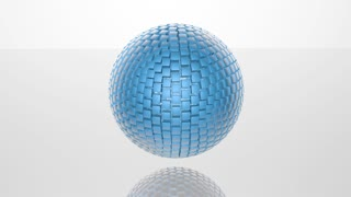 3D abstract advanced technology motion background. Revolving sphere formed by glossy cubes. Seamless loop.