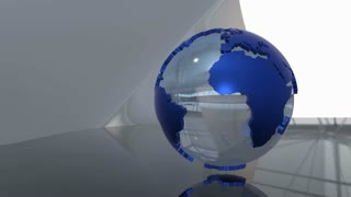 Advanced futuristic scene of a 3d  spinning glass Earth globe with blue extruded continents. Seamless loop
