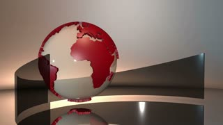 Advanced futuristic scene of a 3d spinning glass Earth globe with red extruded continents