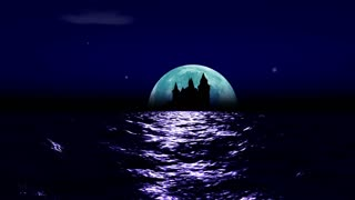 Big realistic moon rising over calm surface of ocean. Stars glittering, clouds passing by and a castle ruin in a distance