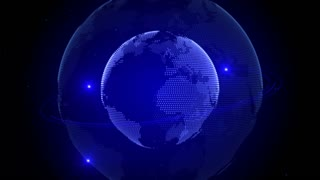 Blue earth technology, business and communications background. Animation of globe rotating