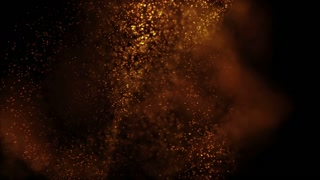 Elegant fantasy abstract technology, science and engineering motion background with golden particles in organic motion. Depth of field settings. 3d rendering.
