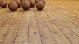 Fantasy realistic wood balls on a realistic wood floor floor. Depth of field settings