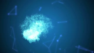 Human brain being formed by particles. Plexus structure evolving around. Blue abstract futuristic science and technology motion background. 3D rendering. Depth of field settings.