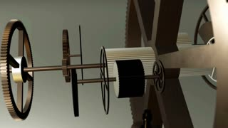 Metal gears in motion in a mechanical device. Gearbox rotating machine parts