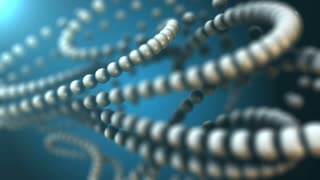 3D chain of blue white spheres in abstract fantasy composition. Technology, biology, science and engineering motion background. Macro view, organic motion, depth of field settings. 3D rendering.