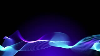 Blue and purple elegant abstract dynamic lines in motion with purple light particles. Technology, science and engineering theme. Abstract stylish wave animation. 3D rendering.