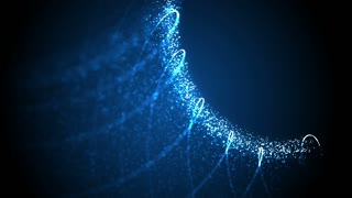 Blue illuminated particles and strings in organic motion. Depth of field settings. 3D rendering.1