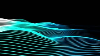 Elegant blue horizontal strings waving in a beautiful smooth organic motion. 3D rendering