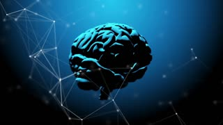 Human brain revolving, illuminated from above. Plexus structure evolving around. Blue abstract futuristic science, medicine and technology motion background. 3D rendering. Depth of field settings.