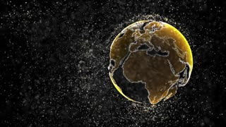 Organic dust particles cloud being pushed by slowly growing yellow Earth globe. Technology, science and engineering motion background. Depth of field settings. 3D rendering.