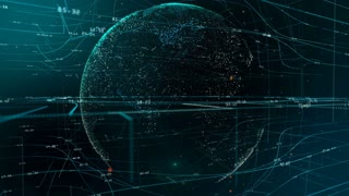 Particle emitting Earth globe over blue and green network grid and data connections. Business, technology, communications or social media motion background. Depth of field settings. 3D rendering.