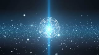 Plexus sphere in a 3D particles field. Flickering light. Organic slow motion. Blue futuristic technology and science abstract motion background. Depth of field settings. 3D rendering.