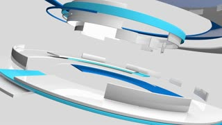 Seamless loop: 3D glossy reflective white and blue curved shapes rotating. TV news, broadcasting, technology, science and engineering. Realistic shadows and reflections. 3D rendering.