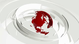 Seamless loop: 3D glossy white curved shapes and red Earth globe rotating. TV news, broadcasting, technology, science and engineering. Realistic shadows and reflections. 3D rendering.