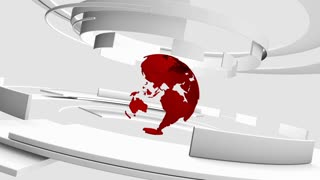 Seamless loop: 3D white curved shapes and red Earth globe rotating. TV news, broadcasting, technology, science and engineering. Realistic shadows and reflections. 3D rendering.