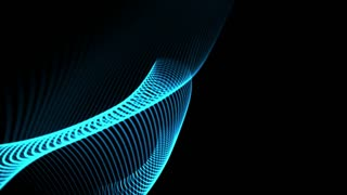 Seamless loop: Blue elegant dynamic abstract lines in motion. Computer, technology, engineering, business and office theme. Abstract stylish wave animation. Depth of field settings. 3D rendering.