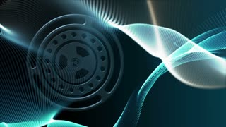 Seamless loop: Blue motion background with gear wheels rotating and lines waving in smooth organic slow motion. Abstract science, technology and engineering theme. Depth of field. 3D rendering